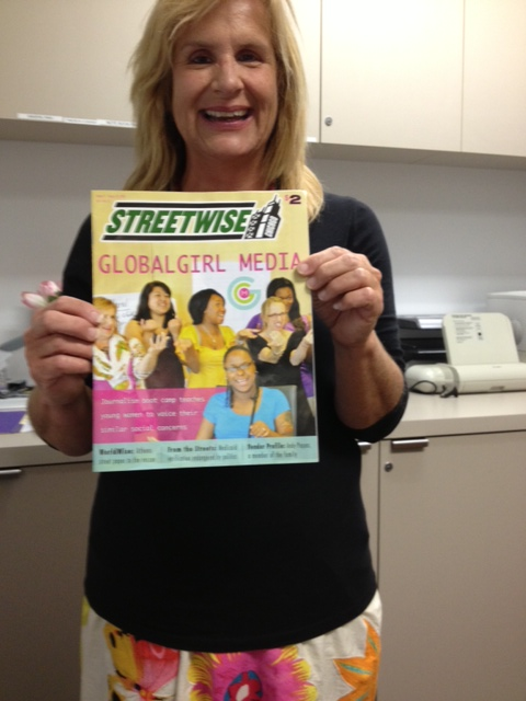 Michele Weldon with the Streetwise issue featuring our Global Girl Media workshop!