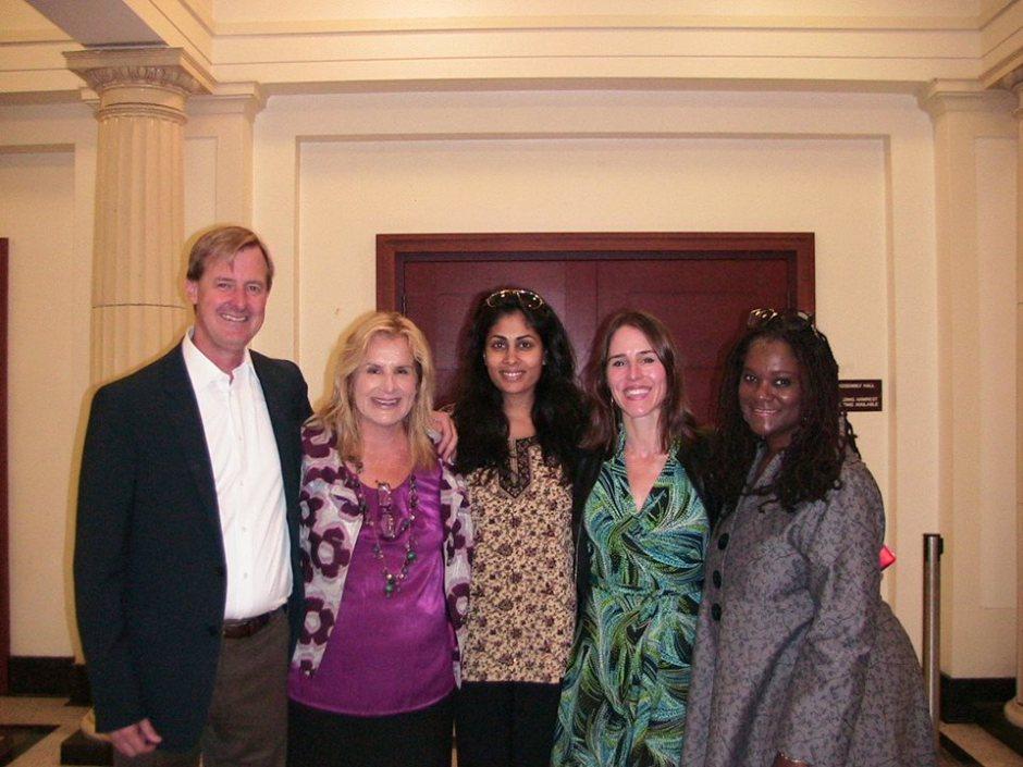 Principal Allen, Michele Weldon, Zeba Khan, Katie Orenstein, and Deborah Douglas
